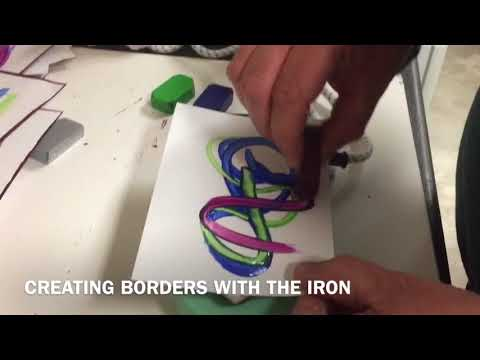 Encaustic Iron - creating wax borders/simple art