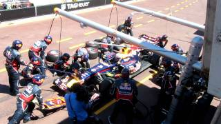Red Bull Double Pit  Stop Monaco 2011 - Unique Footage - Webber not amused... thumbnail