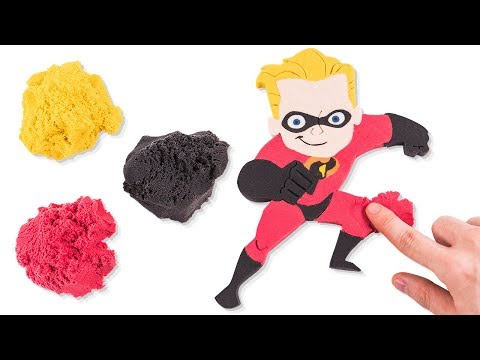 DIY Kinetic Sand Incredibles 2 Dash Parr and Baby Jack Jack Learn Colors for Kids