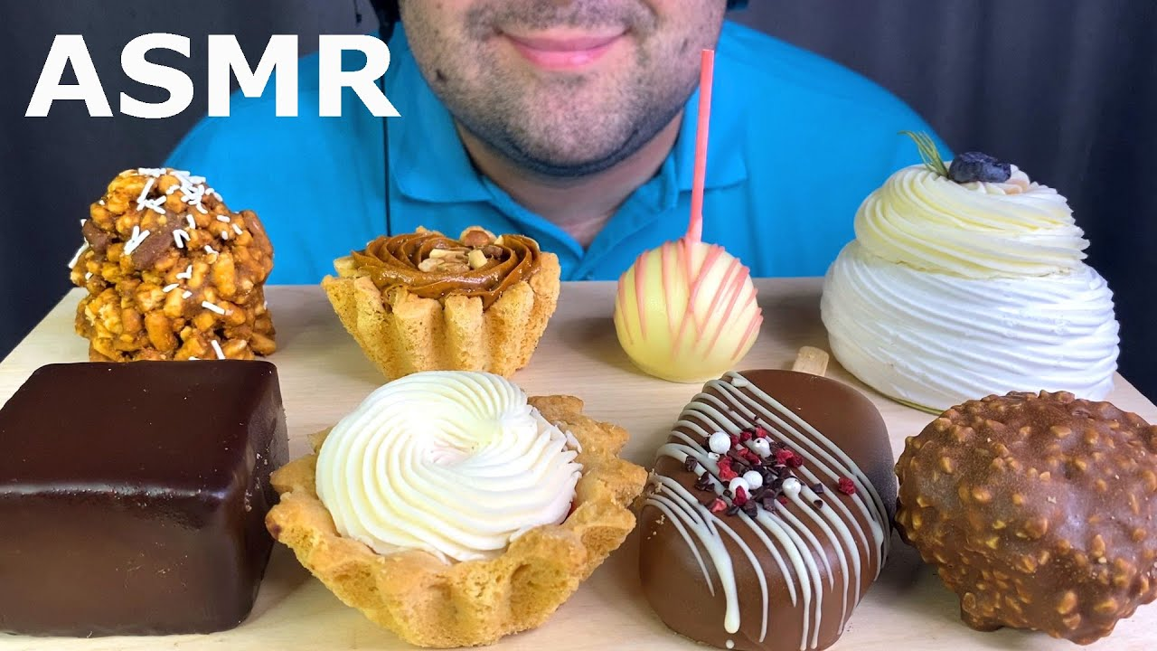 ASMR Dessert: Chocolate Cake, Caramel Cake, Meringue, Brownie, Pop & Cream Cake Mukbang 먹방 Eating