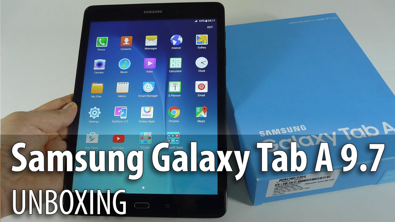 samsung galaxy tab a 9 7 inch unboxing midrange samsung tablet 2015 youtube. Black Bedroom Furniture Sets. Home Design Ideas