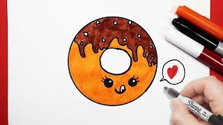 رسم حلوى دوناتس كيوت | رسم كيوتات سهلة | تعليم الرسم للاطفال