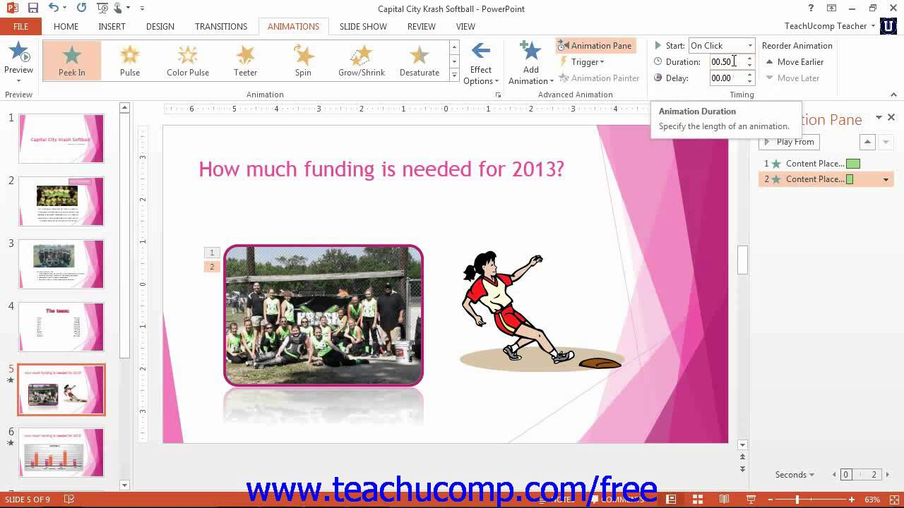 Powerpoint 2013 tutorial adding object animation 2013 2010 microsoft training lesson 10 2 youtube