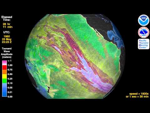Tsunami Animation: Valdivia, Chile, 1960 (rotating globe)