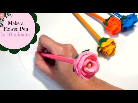 Make a Flower Pencil in 10 Minutes | DIY Rose Pens Topper | Pen Flowers | by Fluffy Hedgehog