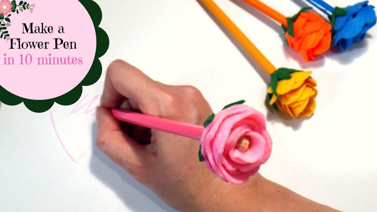 Make A Flower Pencil In 10 Minutes Diy Rose Pens Topper Pen Flowers By Fluffy Hedgehog