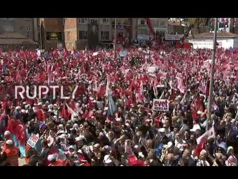 LIVE: Erdogan holds rally in Istanbul day before Turkey's constitutional referendum