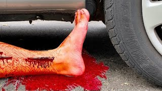 Crushing Crunchy & Soft Things by Car!   EXPERIMENT  CAR VS PLASTIC FOOT 2