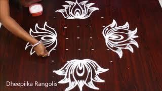 easy rangoli sravana sukravaram muggulu design l 9 dots lotus kolam l varalakshmi vratam muggulu