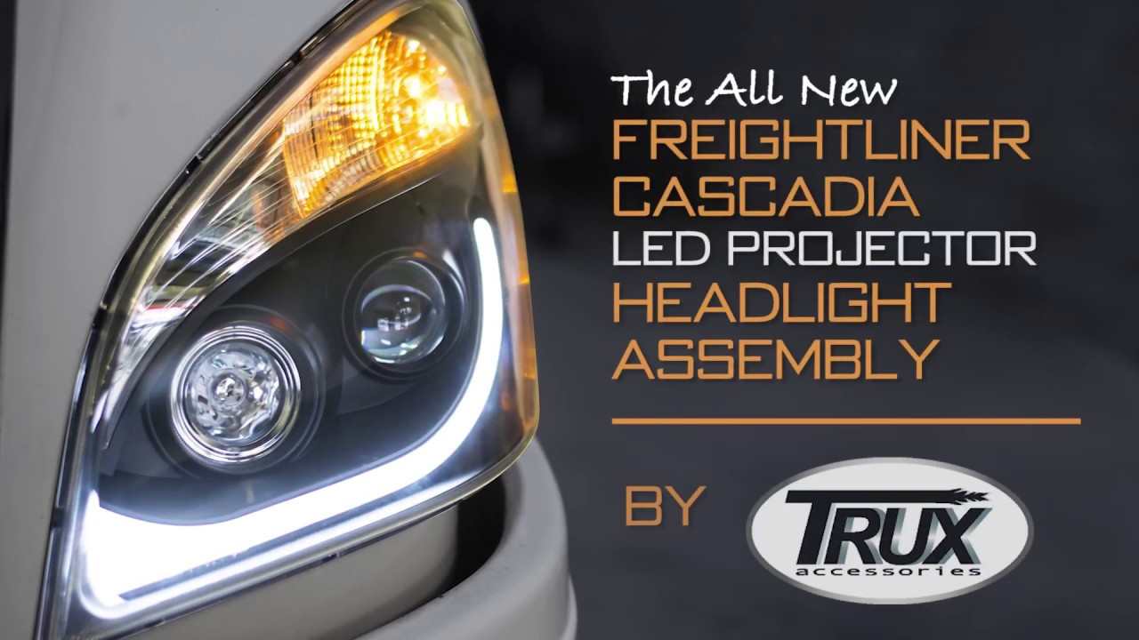 Freightliner Cascadia LED Projector Headlight Assembly, by TRUX
