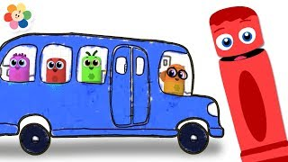 Las Ruedas del Autobús Azul con la Pequeña Pandilla de Colores | BabyFirst Español