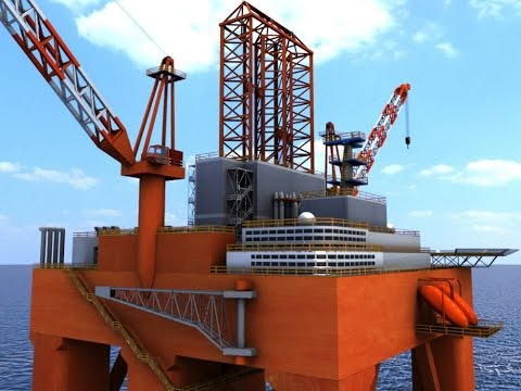 Oil Rig Semi Submersible 3D Model