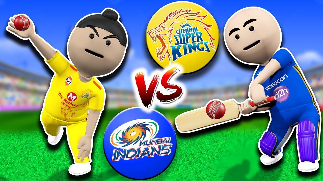 3D ANIM COMEDY - CSK VS MI IPL CRICKET || CHENNAI SUPER KING VS MUMBAI INDIANS || LAST OVER || LIVE
