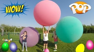 super giant balloons toy challenge race outdoor playground fun huge surprise egg opening