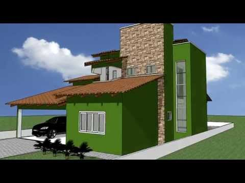 Desenho 3d casa 02 youtube for Casas 3d