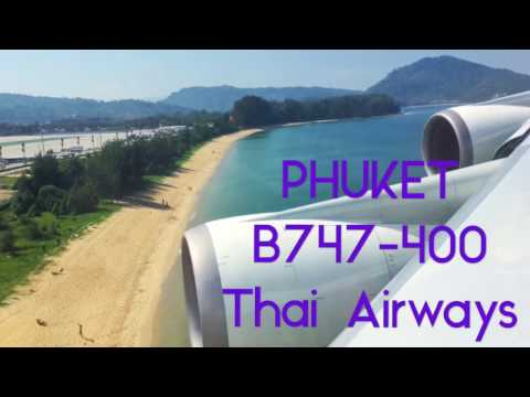PHUKET AIRPORT – Landing Thai Airways Boeing B747-400.