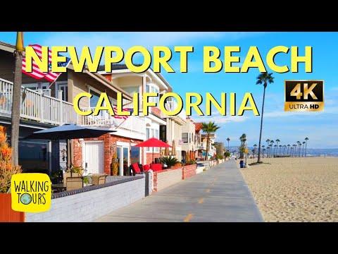 Newport Beach Boardwalk CA | 4K Ultra HD Walking Tour