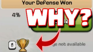 Clash Of Clans ZERO TROPHIES GAINED Defensive Win | 0 Trophies Won Through Defensive Win