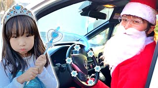 Frozen and Play with Santa Claus Sleeping in Car