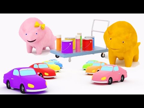 Learn colors by painting cars with Dina and Dino the Dinosaurs | Educational cartoon for children