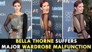 Bella Thorne suffers major wardrobe malfunction at Critics' Choice Awards 2016
