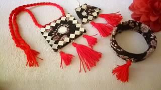 DIY/Trendy Fabric jewelry making/kalamkari easy jewelry making/कपडे से बनाना सीखें जेवर/Boho Style.