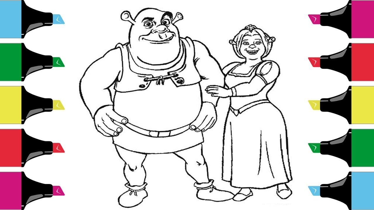Shrek and Fiona Coloring Pages for Kids |Coloring book - YouTube