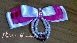 Laço de fita com pérolas\ ribbon with pearls