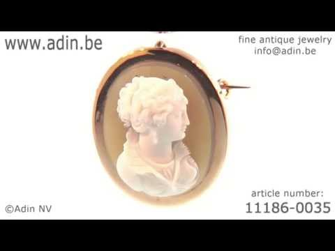 French Victorian hard stone cameo brooch, pendant. (Adin reference: 11186-0035)