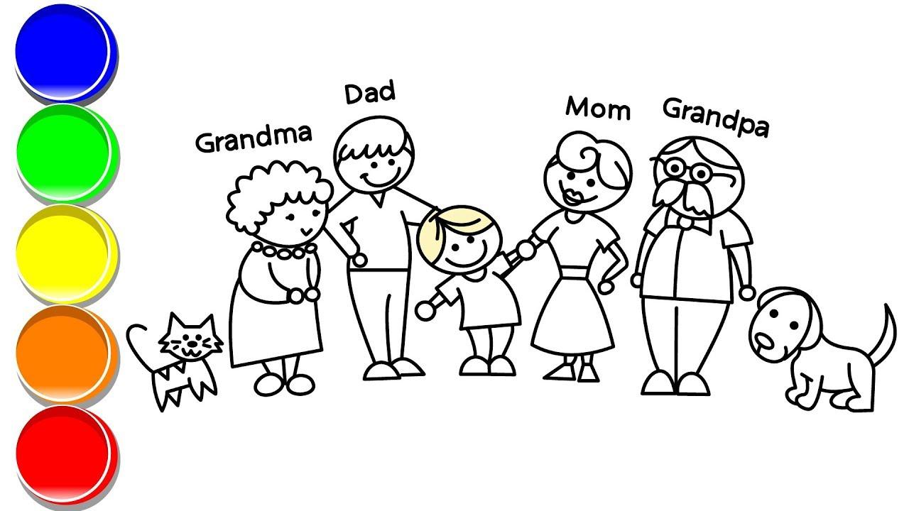 How To Draw My Happy Family Grandpa Grandma Dad Mom Cat And Dog Youtube