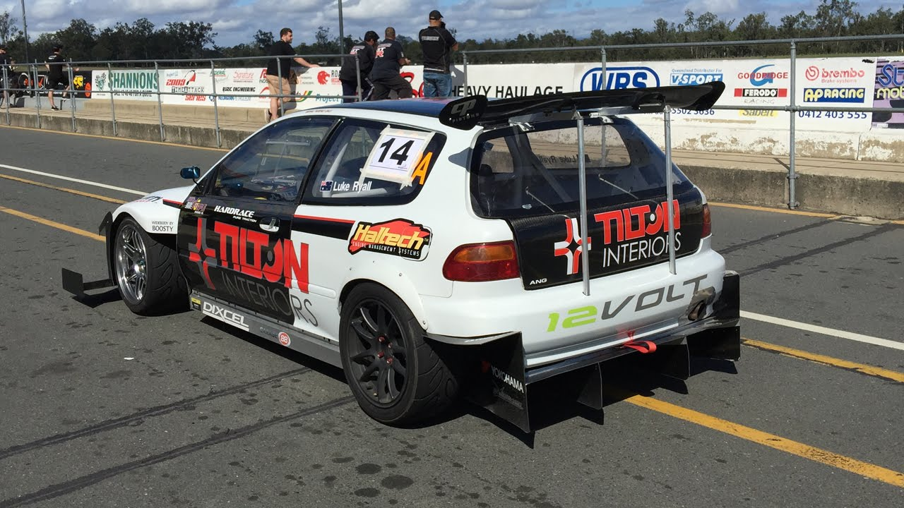 Luke Ryall S Wtac Honda Eg Civic At Queensland Raceway On