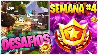 FORTNITE : Como COMPLETAR RAPIDO TODOS los DESAFIOS de la SEMANA 4 en la TEMPORADA 6 ¡ MUY FACIL !