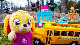 Paw Patrol Skye Playground Adventure with Lego Movie 2 Emmet In Real Life thumbnail
