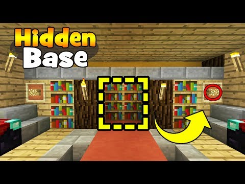 "Minecraft Tutorial: How To Make A Secret Library Base ""Hidden Base Tutorial"""