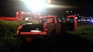(18+)Attempted cash in transit heist on reinforced pickup truck. This video shows the second angle.