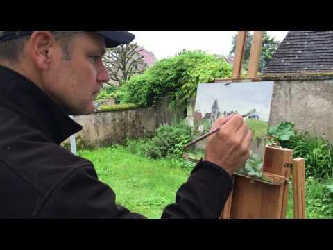 Artist Tom Hughes' Demo at Plein Air France Holidays Workshop