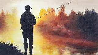 Fisherman Landscape Acrylic Painting LIVE Tutorial
