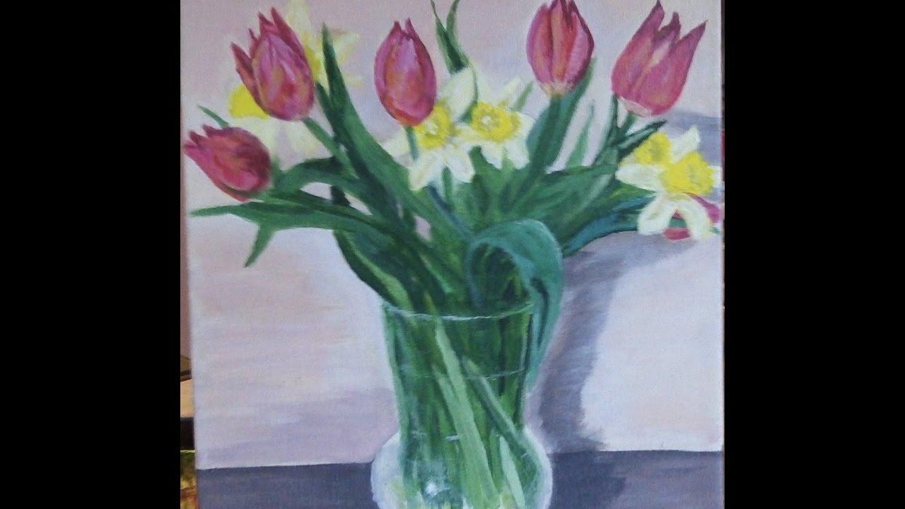 peinture acrylique vase de tulipes et jonquilles - youtube