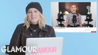 meghan trainor watches fan covers on youtube you sang my song glamour