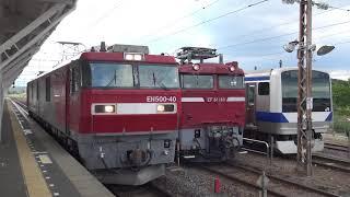 東北本線 白河駅 EH500-40単機配給到着 キハE130-109KY入場発車 2019.06.12