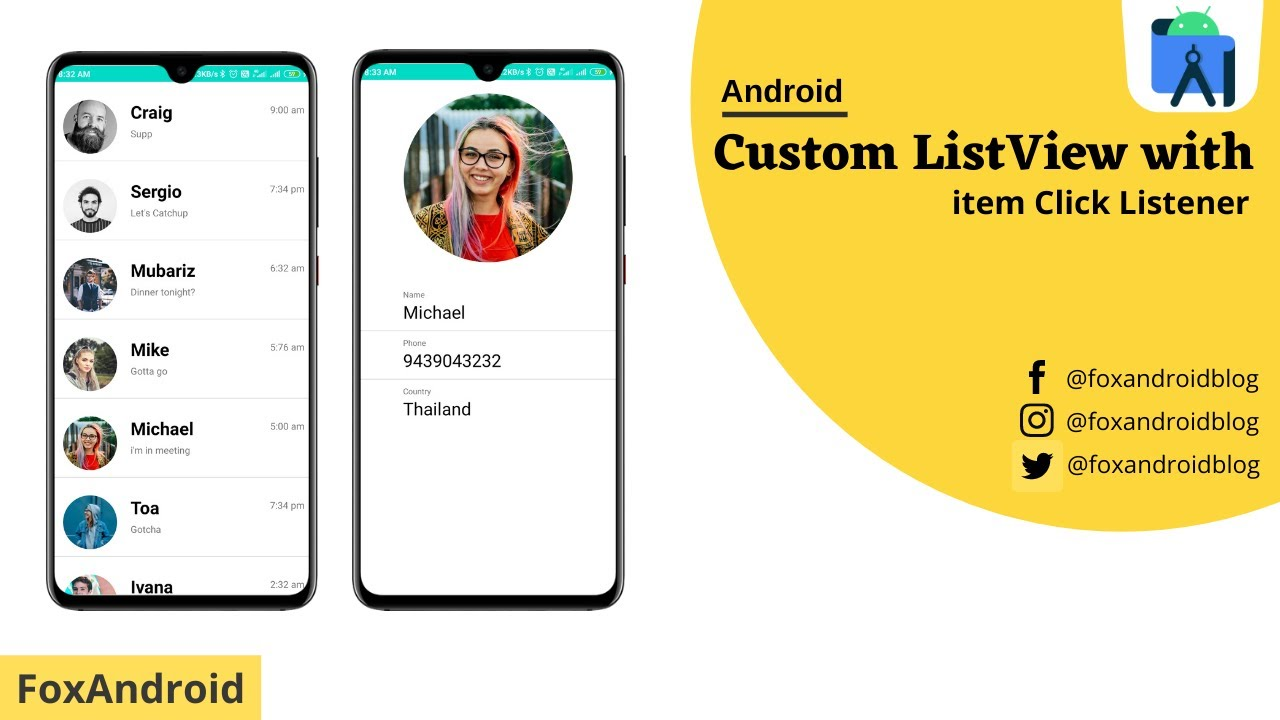 How to Master Custom Listview with Item Click in android for Beginners