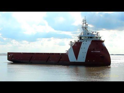 offshore supply ship VOS PASSION ZDPX7 IMO 9709130 inbound Emden