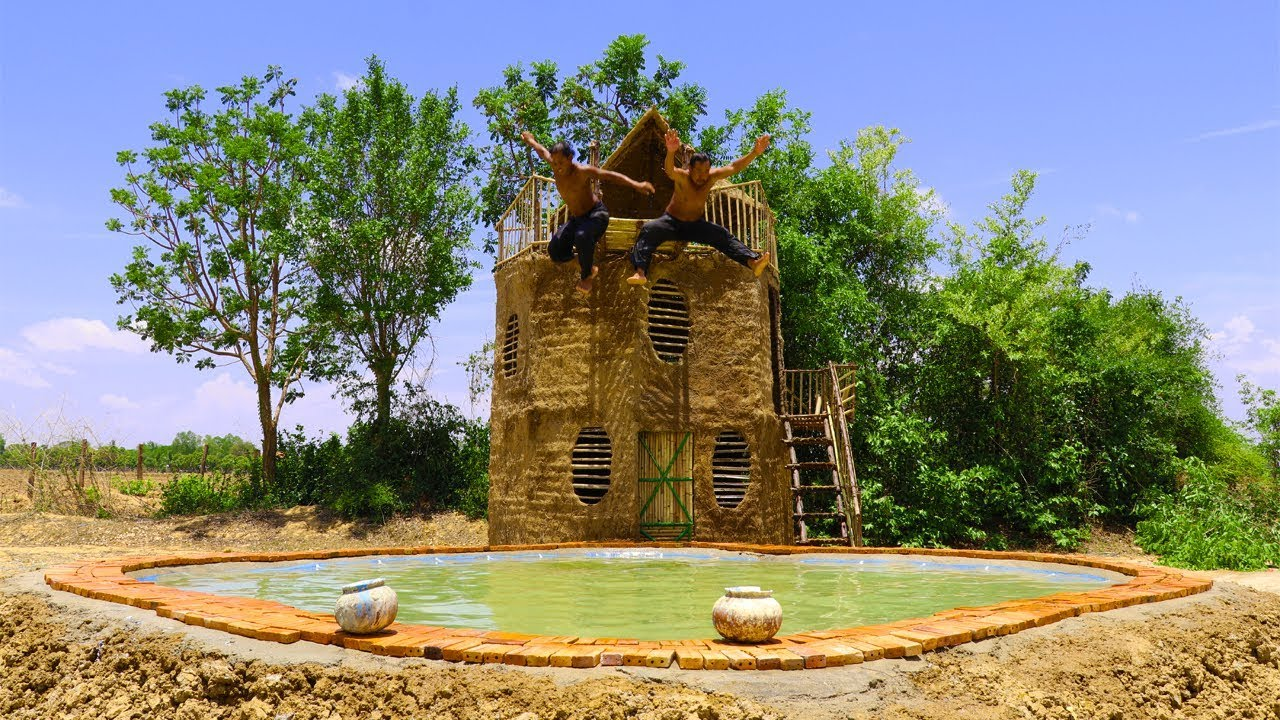 Build Swimming Pool In Front Of Three Floor Mud House