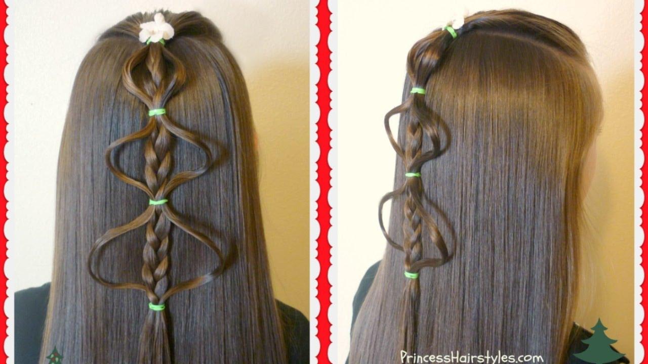 easy bubble braid christmas tree hairstyle tutorial - youtube