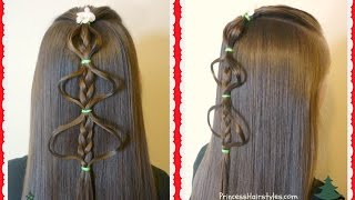 Easy Bubble Braid Christmas Tree Hairstyle Tutorial