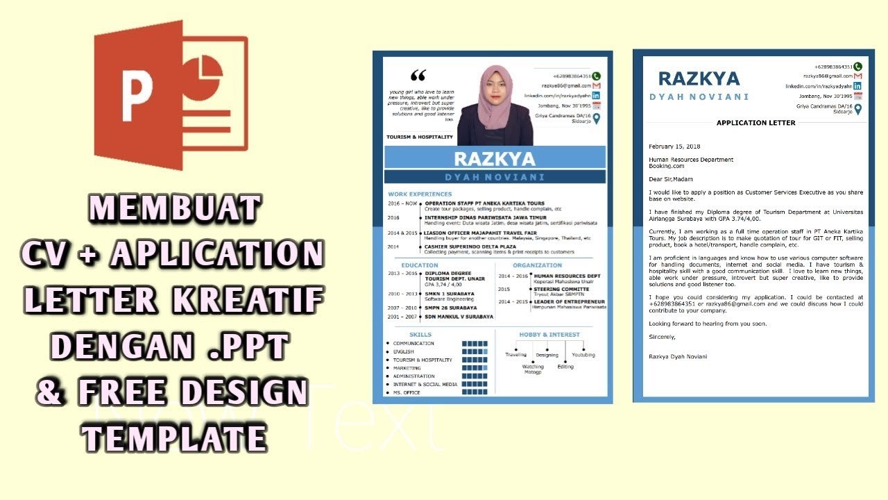 Tutorial Membuat Cv Surat Lamaran Kerja Kreatif Dengan Ms Power Point Free Design Template