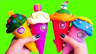 Play Doh Ice Creams Set - Make Christmas Play Dough Ice Creams Cones & More Sweet Creations