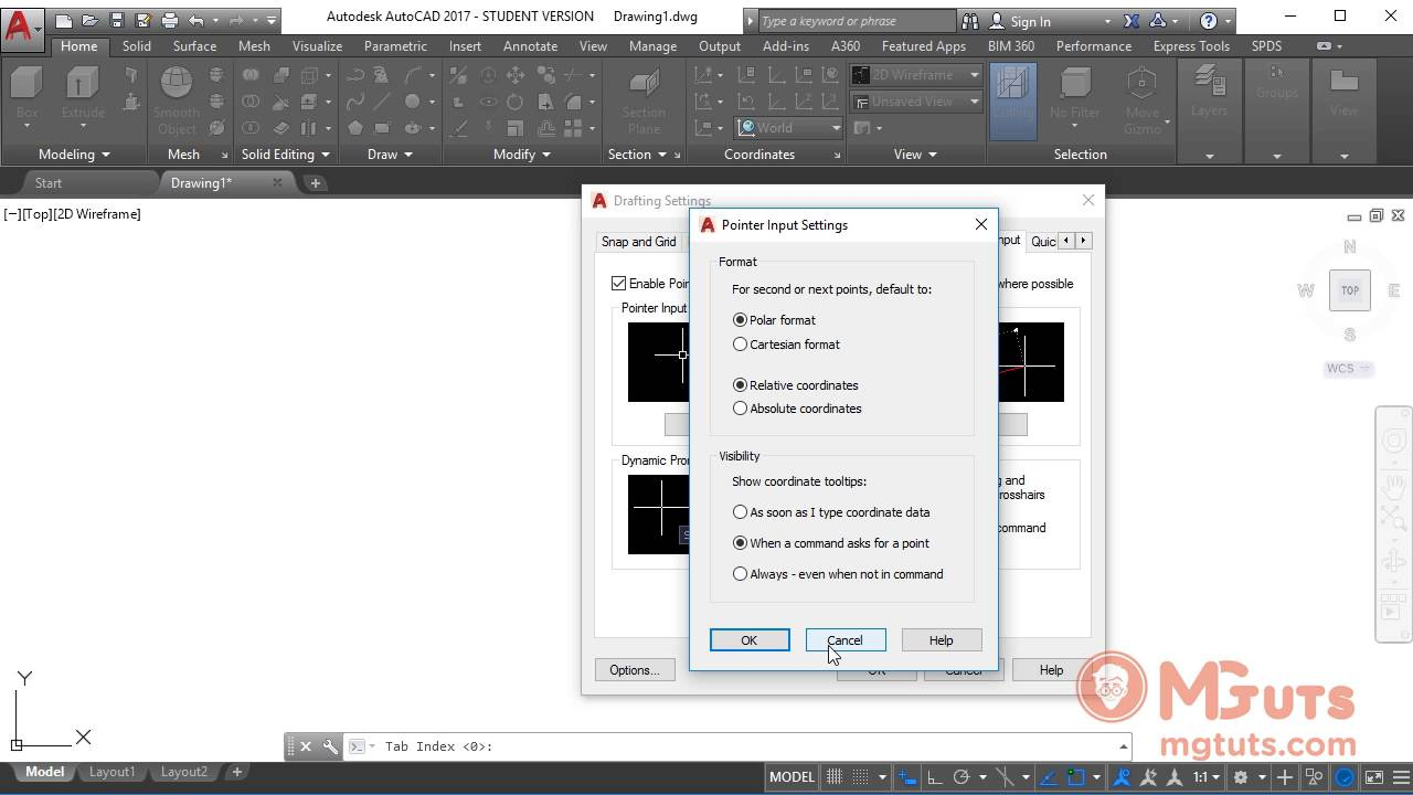 How to use and cutomize Autocad Dynamic input