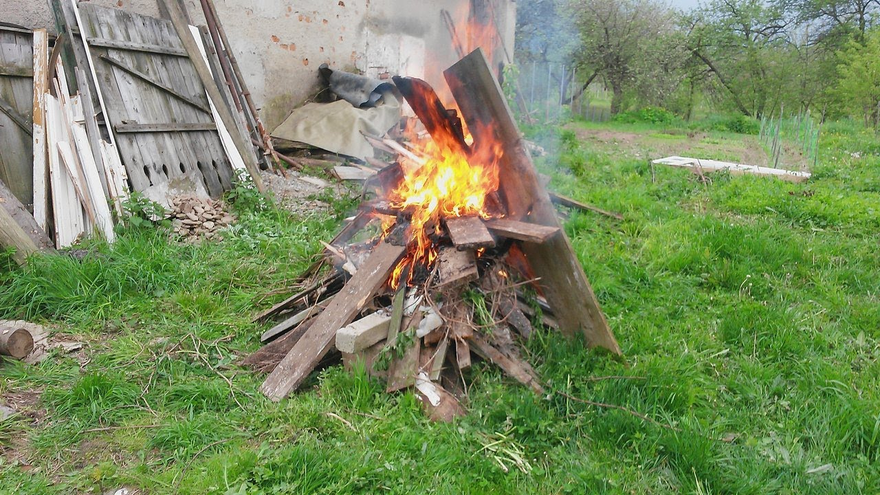 Burning Pile Of Old Rotten Wood