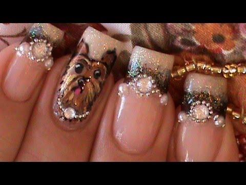 yorkie dog nail art design tutorial